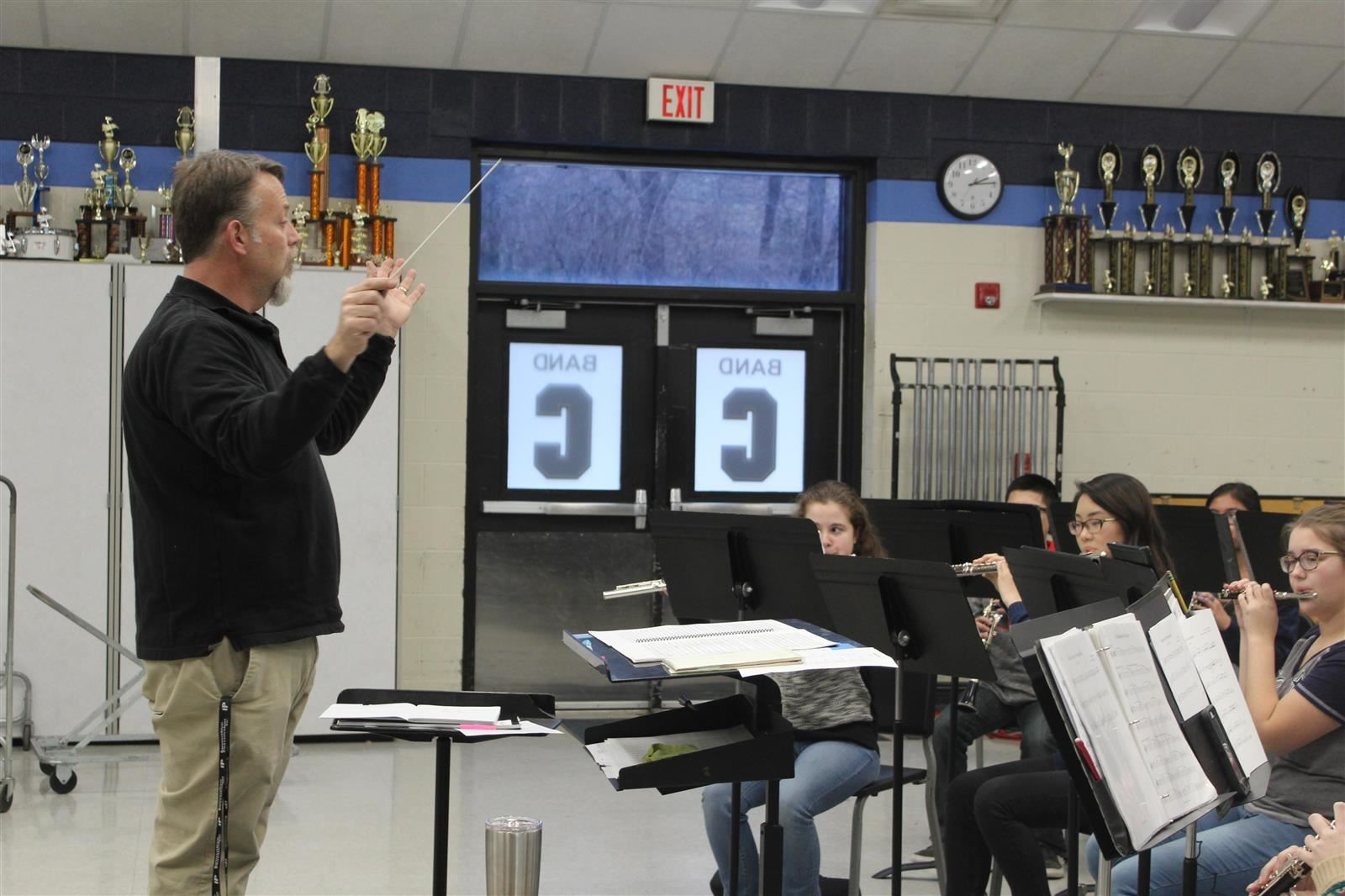 Mr. Miller directs the concert band.