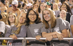 Three female Centennial students pose together wearing their gray section shirts