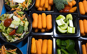 Vegetable trays in cafeteria