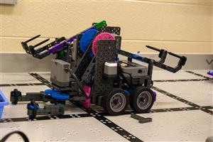 Student built rolling robot.