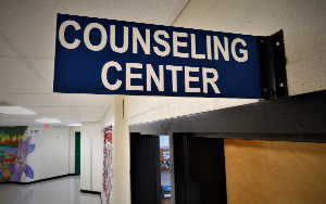 A blue sign that says, Counseling Center, is mounted above a door in a hallway.