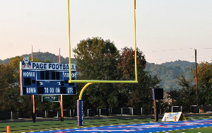 Endzone of the Page High football field.