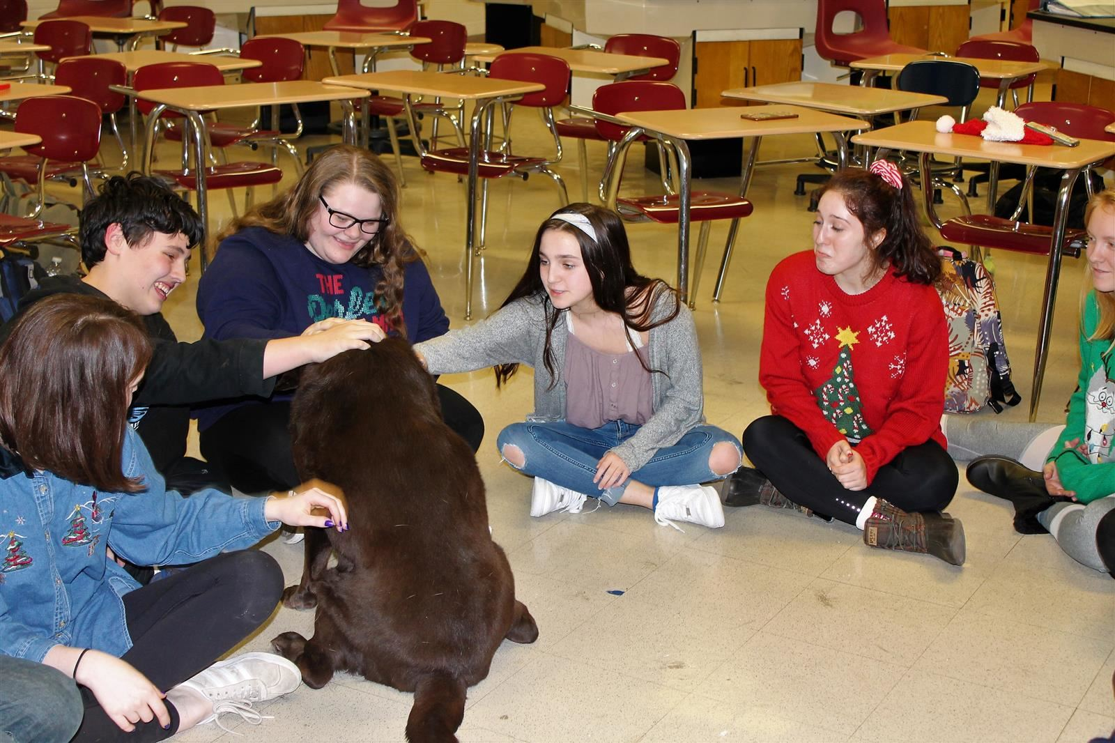 Students sitting in a circle with a dog during a class.