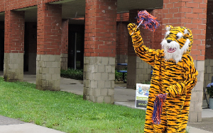 Tiger mascot outside of building