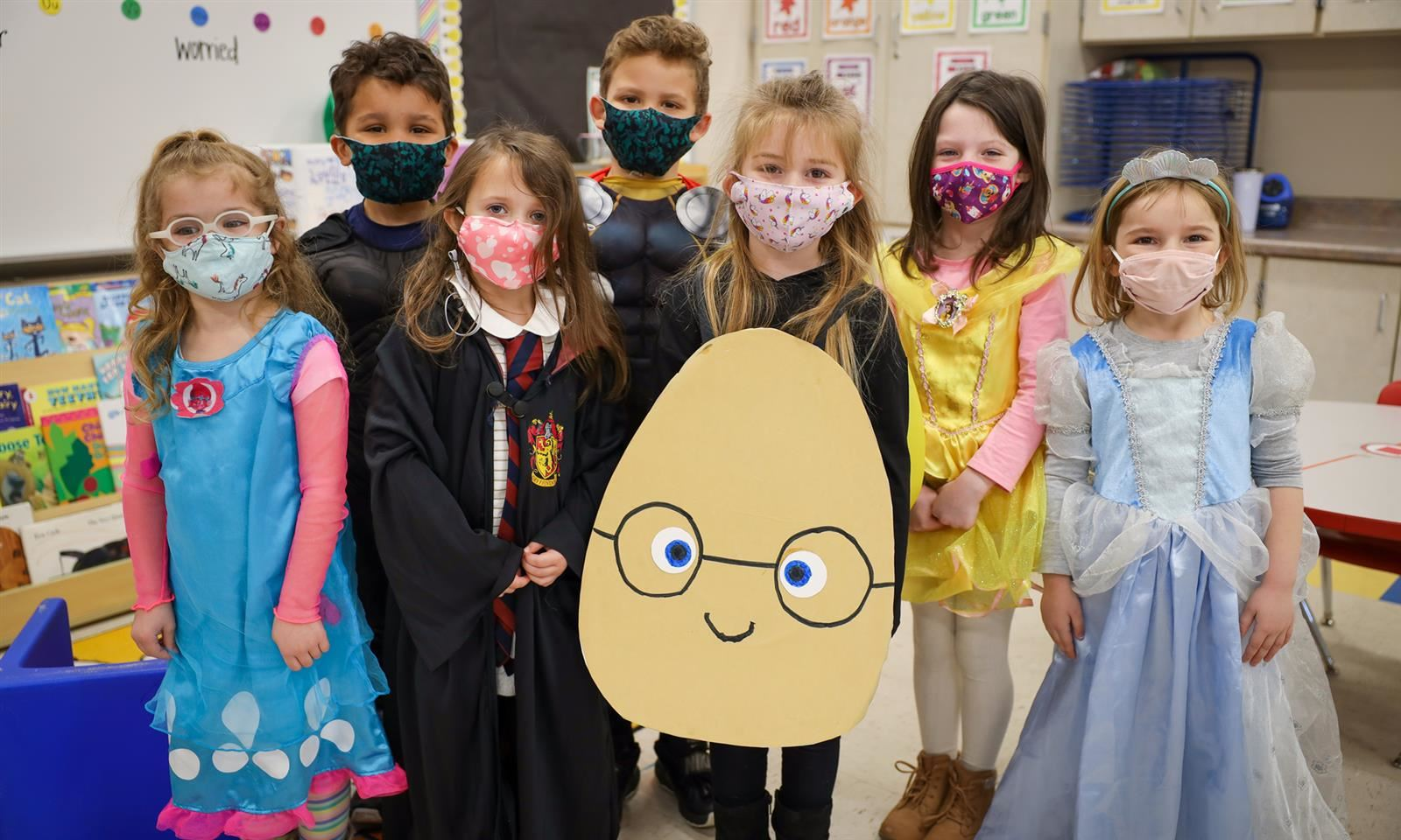 class is dressed up as book characters