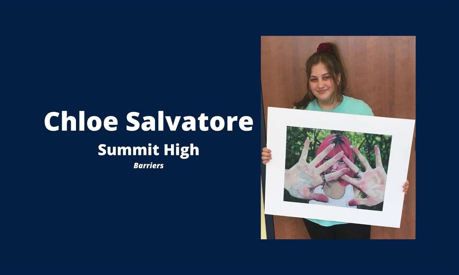 Chloe Salvatore holds her painting